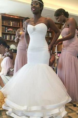 2018 African Negirian Simple Mermaid Wedding Dresses Sweetheart Wedding Bridal Gowns Wedding Party Dresses Custom Made