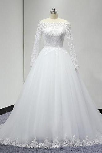 Wedding Bridal Dress vestido de noiva Cheap Luxury Long Sleeves Ball Gown Wedding Dresses
