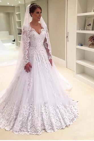 Vintage Long Sleeve Wedding Dresses 2018 V Neck Sexy Illusion Back Lace Beaded Sequins Bridal Gowns Vestido De Noiva