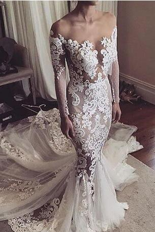 2017 Vintage Wedding Dresses Off the Shoulder Lace Appliques Sheer Bodice Long Sleeves Tiered Skirts Mermaid Elegant Country Bridal Gowns