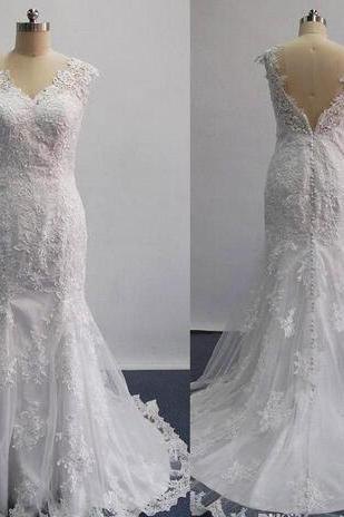 Real 2020 Sexy Mermaid Wedding Dresses Sheer Lace Appliques Sleeveless Court Train Bridal Gowns