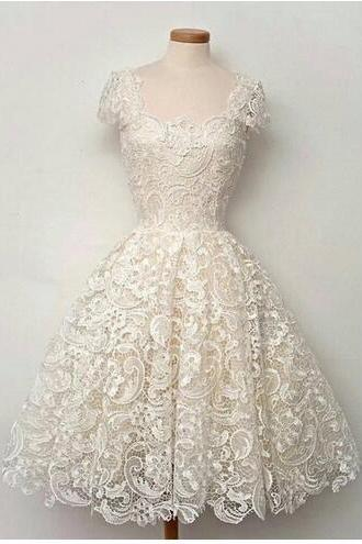 Beach Little White Dresses Vintage Wedding Party Dresses in Guipure Embroidery Lace Cap Sleeve Scoop Neckline Tea Length Short Wedding Gowns