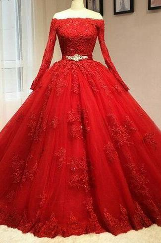 Red Ball Gown Wedding Dresses Bateau Long Sleeves Lace Up with Court Train Bridal Gowns