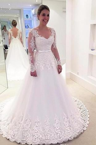 Wedding Dress 2018 V Neck Sexy Backless Wedding Gowns A Line Long Sleeved Wedding Dresses