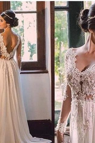 Bridal Gowns Vestidos De Casamento 2018 Sexy Backless Wedding Dresses Long Sleeve Wedding Gowns with Appliques