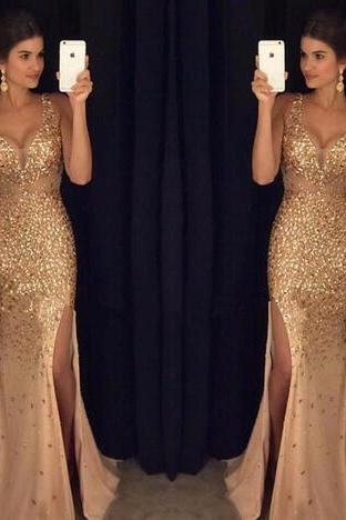 2020 Latest V Neck Mermaid Long Prom Dresses High Split Crystal Beaded Gold Evening Party Prom Gowns vestido de fiesta