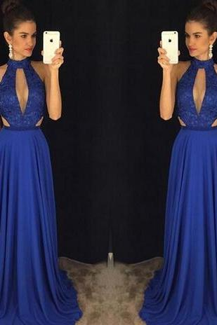 Hot High Neck Chiffon Prom Dresses Royal Blue Floor-length A-line Fashion Elegant Party Evening Dresses