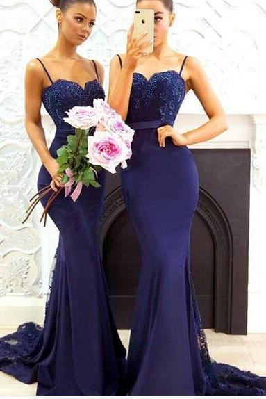 2018 Navy Blue Mermaid Satin Bridesmaid Dresses Spaghetti Straps Lace Bodice Bridesmaid Gowns Prom Dress