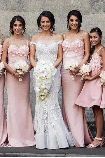 2018 Elegant Pink Mermaid Bridesmaid Dresses Spaghetti Straps Sleeveless Lace Bodice Bridesmaid Gowns Prom Dress