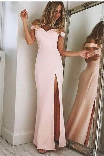 Elegant 2018 Dusk Pink Prom Dresses Off the Shoulder Evening Party Gowns Side Slit