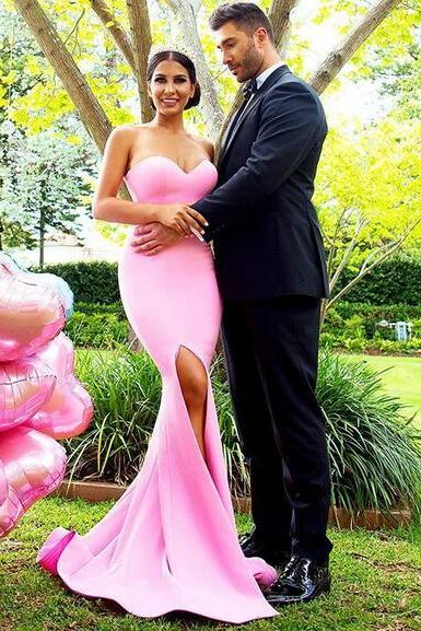 Elegant 2018 Pink Mermaid Prom Dresses Sweetheart Sleeveless Evening Party Gowns
