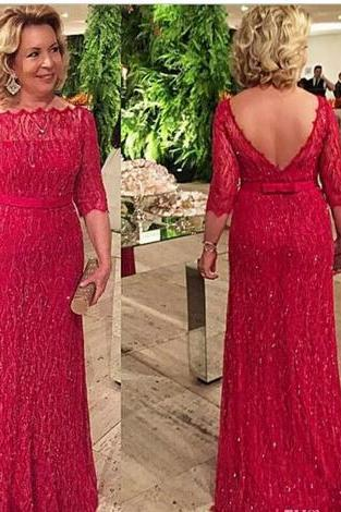 Sparkling Red Sheath Mother Of The Bride Dresses WIth 3/4 Long Sleeves Sheer Neckline Backless Prom Dress Long Evening Gown