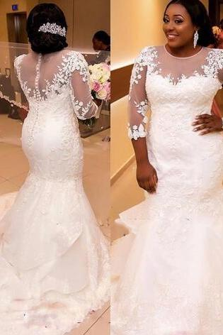 African Plus Size Wedding Dresses Jewel Sheer Neckline Lace Appliques 3/4 Long Sleeves Mermaid Wedding Gowns Layered Arabic Bridal Dress
