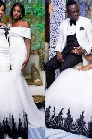 African Mermaid Wedding Dresses Long Sheer Neckline Black Lace Appliques Plus Size Wedding Dress Satin And Tulle Bridal Gowns Vestidos