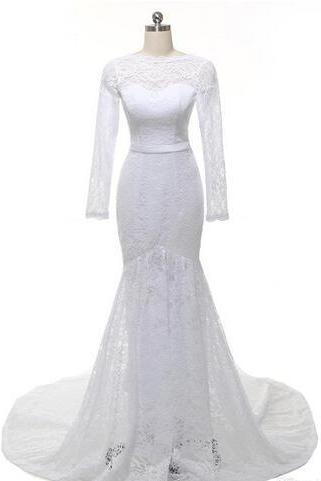 Sheer Lace Mermaid Wedding Dress with Long Sleeves, Open Back and Train