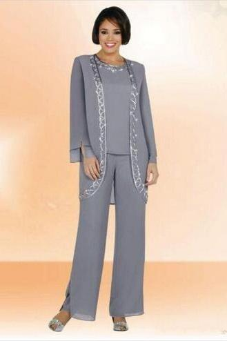 New Design Cheap 2018 Chiffon Jewel Long Mother Of The Bride Pant Suits With Long Sleeve Jacket Cheap Embroidery Formal Suits Custom Made