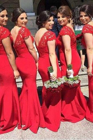 New Trend Red Mermaid Lace Long Bridesmaids Dresses 2018 Short Sleeves V Neck Sexy Prom dresses Gowns Formal Wedding Party Dress Plus Size