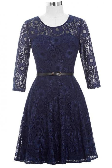 Mother of the Bride Dresses with Belt 2020 Half Sleeve Lace Vintage Dresses Mother Bride for Wedding Navy Blue Short Gown