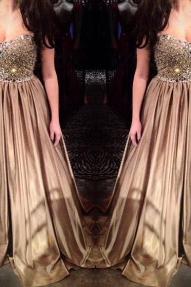 Champagne A Line Satin Prom Dresses Sweetheart Sleeveless Beading Crystals Evening Dress Formal Gowns