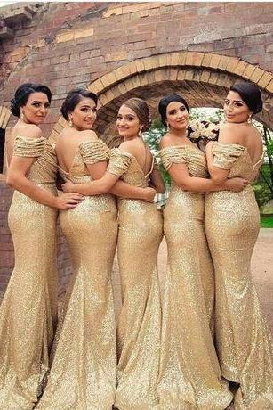 2018 New Design Sexy Gold Mermaid Bridesmaid Dresses Off Shoulder Sweep Train Backless Sequins Formal Maid of the Honor Dresses
