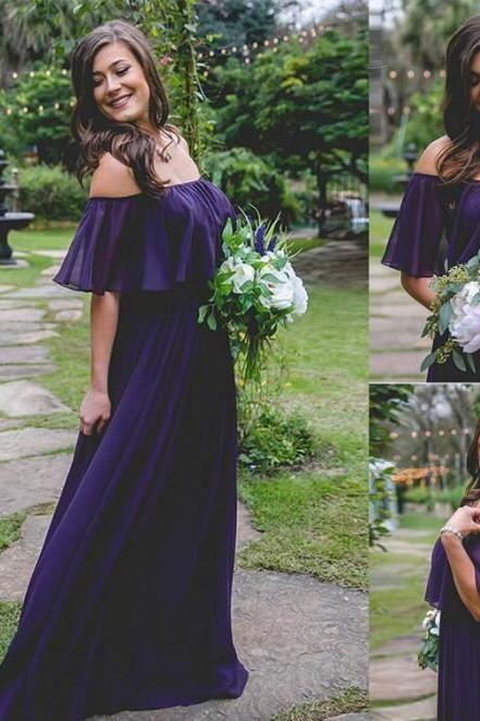 Country Dark Purple Bridesmaid Dresses Off Shoulder Chiffon Maid Of Honor Dress Beach Wedding Party Gowns Custom Made Cheap