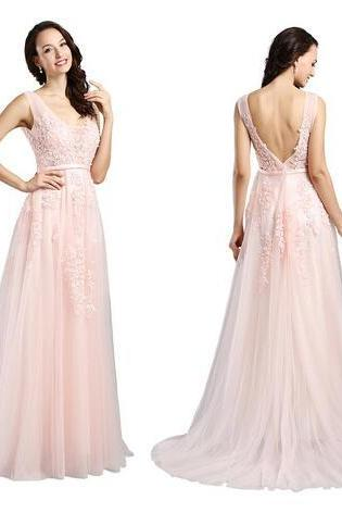 Evening Dresses the Bride Lace A-line Sexy V-neck Sleeveless Appliques Prom Party Formal Gown Custom Made Robe De Soiree