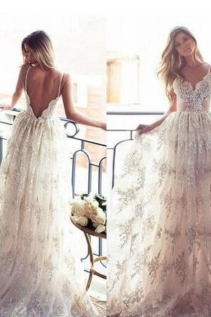 Summer Garden Beach Boho Wedding Dresses 2018 Vestido De Noiva Merry Sexy Lace Straps with Sweetheart Backless Long Cheap Bridal Gowns