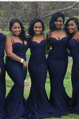 Negerian South African Dark Navy Mermaid Bridesmaid Dresses Spaghetti Straps Floor Length Maid of the Honor Dresses Custom Made