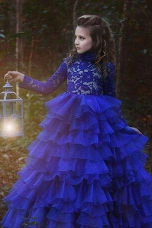 Royal Blue Flower Girl Dresses Vestidos De Comunion 2017 Ball Gown Pageant Dresses Long Sleeve Flowergirl Dresses