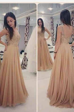 Vintage Cheap Long Dresses Evening Wear Crystal Lace Appliqued Backless Chiffon A Line Prom Gowns Sexy Formal Party Dress