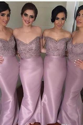 Sexy Sweetheart Off the Shoulder Satin Mermaid Bridesmaid Dresses 2018 Hot Sale Floor Length Evening Gowns for Wedding Party