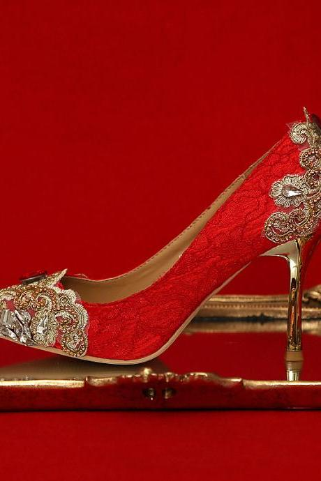 Crystal Beadings red Super High Stiletto Heels Bridal Wedding Shoes