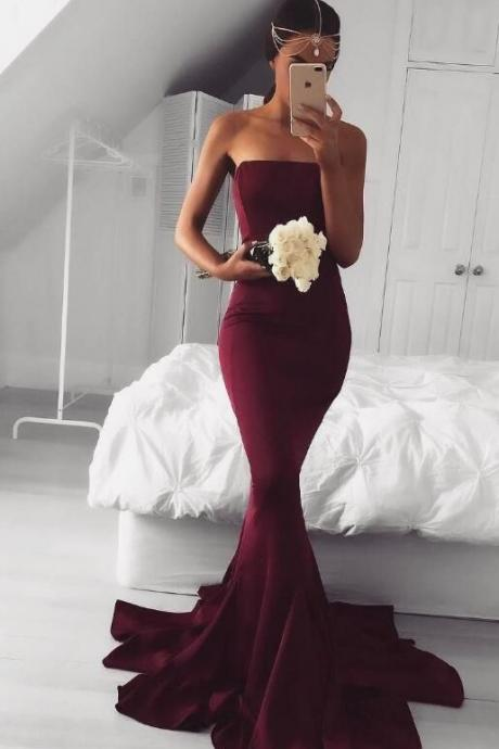 Sexy Burgundy Prom Dress Formal Dresses,Strapless Prom Dresses, Mermaid Long Evening Prom Dress