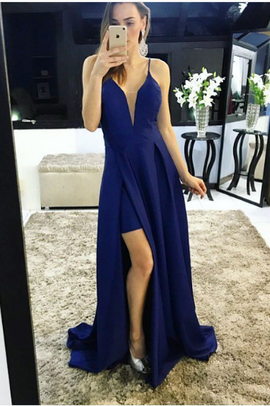 Simple dark blue A-line deep v neck long prom dress, blue evening dress