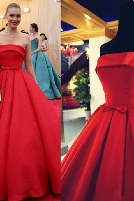 Elegant Evening Dress,Sleeveless Evening Dress,Satin Evening Dress,Strapless Evening Dress,Red Evening Dress,Princess Evening Dress,Empire Evening Dress,Ball Gown