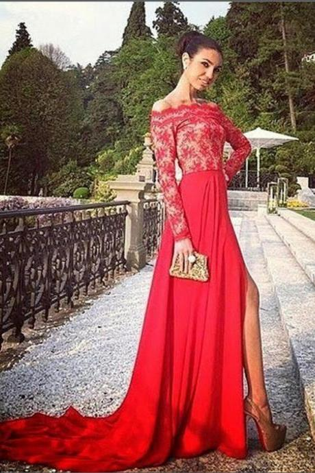 Prom Dress,Lace Prom Dresses,Long Evening Dress,Sexy Evening Gown