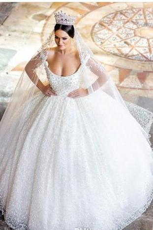 Vintage Pearls Backless Ball Gown Wedding Dresses Scoop Neck Puffy Appliques Bridal Dress Chapel Tulle Plus Size Princess Wedding Gowns