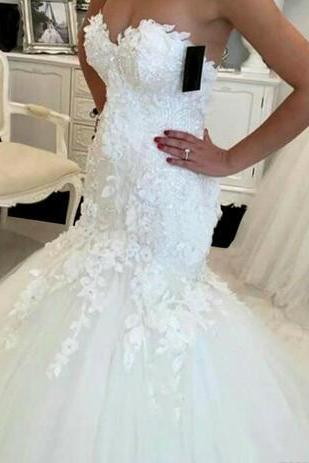 Hot Sale 2018 New Opening Back Mermaid Wedding Dress 2018 Lace Appliques Sweetheart Bride Dresses New Design Elegant Wedding Gowns Casamento