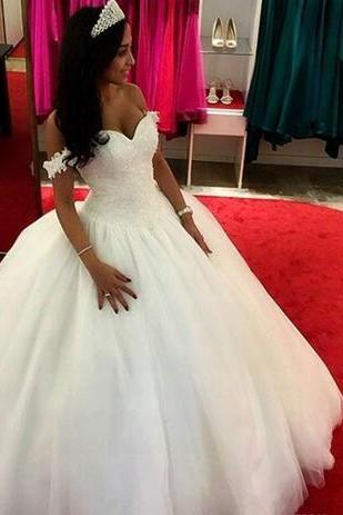 2018 Princess Lace Ball Gown Wedding Dresses Tulle Off The Shoulder Pearls Long Bridal Gowns Plus Size Custom Made