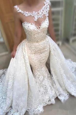 Gorgeous 2020 Lace Mermaid Wedding Dresses With Detachable Train Sheer Scoop neck Applique Beads Luxury Long Bridal Gown Custom Made