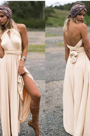 New Arrivals 2018 Champagne Spandex Country Bridesmaid Dresses Long Sexy Halter Backless Floor Length Maid Of Honor Gowns Custom