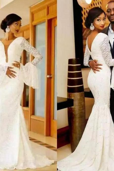 African 2018 Full Lace Deep V Neck Long Sleeve Mermaid Wedding Dresses Vintage Bridal Gowns Plus Size Custom Made