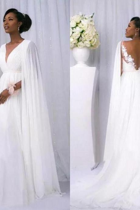 African 2018 White Chiffon Cape Sleeve Beach Country Wedding Dresses Cheap Backless V Neck Maternity Bridal Gowns Custom Made