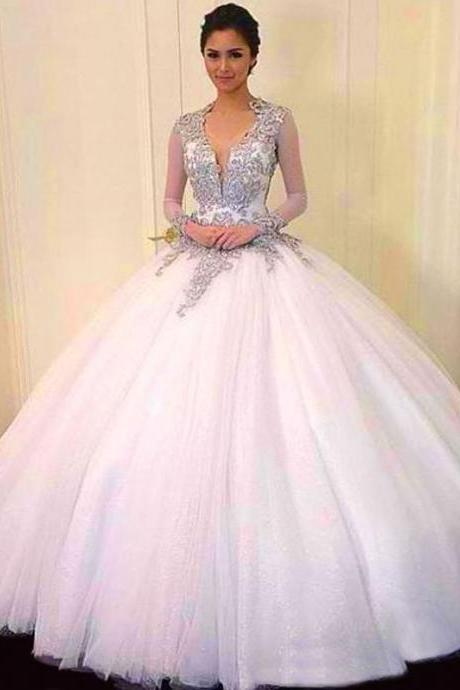 cheap Ball Gown Quinceanera Dresses V-Neck Tulle For Backless Long Sleeves applique Beads evening dress