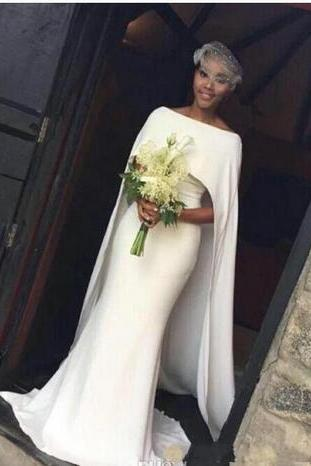 2018 Bateau Satin Mermaid Arabic Wedding Dresses With Cape Zipper Back Black Girl Bridal Gowns Customed