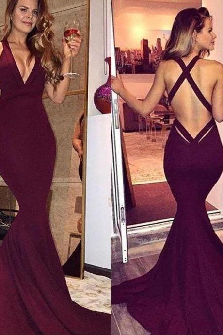 2018 Elegant Burgundy Prom Dresses Sexy Mermaid Backless Sleeveless Sweep Train Long Party Dresses V Neck Cheap Evening Gowns Formal Wear