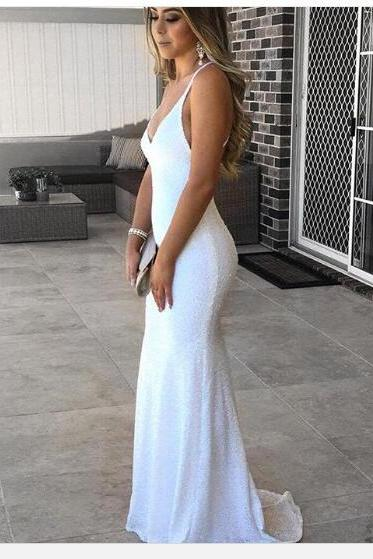 Prom Dress 2018 White V-neck Long Mermaid Evening Dress Chiffon Backless Prom Evening Dress with Long Train
