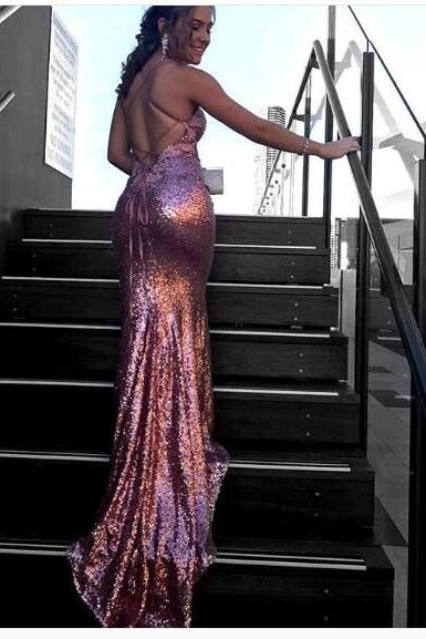 Prom Dress 2018 Pink Luxury Bling Sparkle Prom Dress Long Mermaid Evening Dress Sequined Lace Backless Long Prom Evening Dress