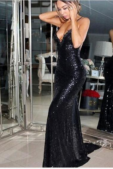 2018 Mermaid Prom Dress Sexy Prom Dresses Long Black Evening Dress Halter Sequined Lace Backless Long Prom Evening Dress