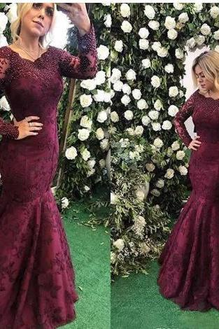Evening Dresses 2018 New Sexy Scoop Neck Illusion Long Sleeves Mermaid Grape Full Lace Crystal Beads Pearls Formal Party Dress Prom Gowns